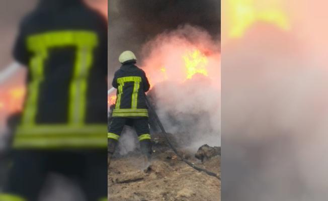 Fabrika çöplüğünde yangın çıktı!