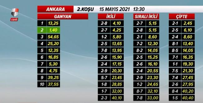 Türkiye Jokey Kulübü 15 Mayıs At yarışı sonuçları
